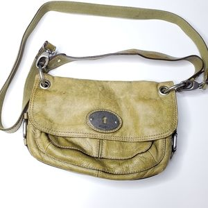 Fossil || Lime Green Leather Crossbody